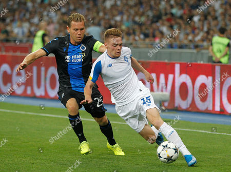 Ruud Vormer of Brugge and Viktor Tsygankov of Dynamo Kyiv