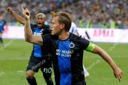 Ruud Vormer of Brugge celebrates his goal