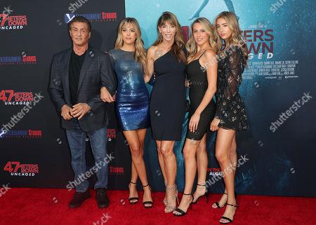 Sylvester Stallone, Scarlet Rose Stallone, Sistine Rose Stallone and Sophia Rose Stallone