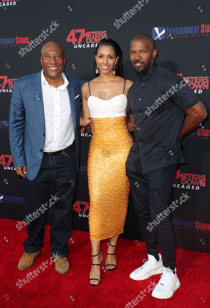 Byron Allen, Corinne Bishop and Jamie Foxx