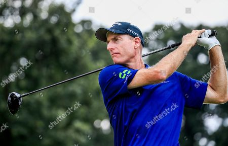 Jim Furyk of the US watches his tee shot on the twelfth hole duirng practice for the BMW Championship at Medina Country Club in Medina, Illinois, USA, 13 August 2019. The BMW Championship is the second of three playoff tournaments to determine the FedEx Cup champion.