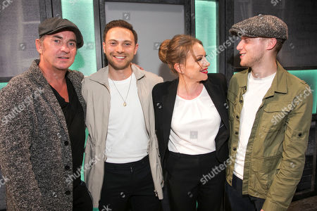 Shane Richie, Matt Di Angelo, Rita Simons (Miss Hedge) and James Borthwick backstage