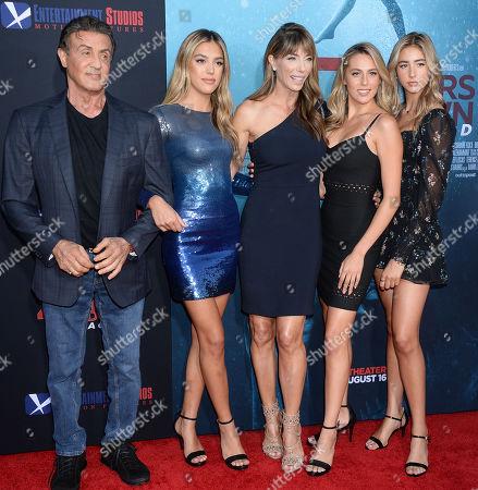 Sylvester Stallone, Sistine Rose Stallone, Jennifer Flavin, Sophia Rose Stallone and Scarlet Rose Stallone
