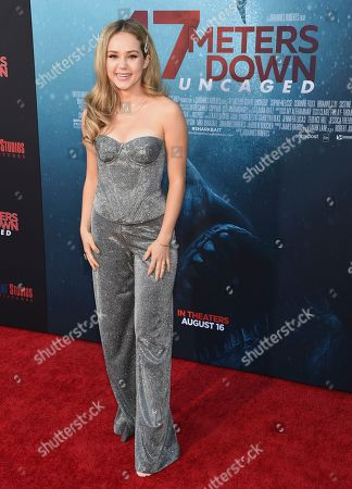 "Brec Bassinger arrives at the Los Angeles premiere of ""47 Meters Down: Uncaged"" at the Regency Village Theatre on"
