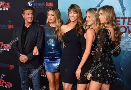 "Sylvester Stallone, Sistine Rose Stallone, Jennifer Flavin, Sophia Rose Stallone, Scarlet Rose Stallone. Sylvester Stallone, from left, Sistine Rose Stallone, Jennifer Flavin, Sophia Rose Stallone and Scarlet Rose Stallone arrive at the Los Angeles premiere of ""47 Meters Down: Uncaged"" at the Regency Village Theatre on"
