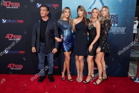 Sylvester Stallone, Sistine Rose Stallone, Jennifer Flavin, Sophia Rose Stallone, Scarlet Rose Stallone