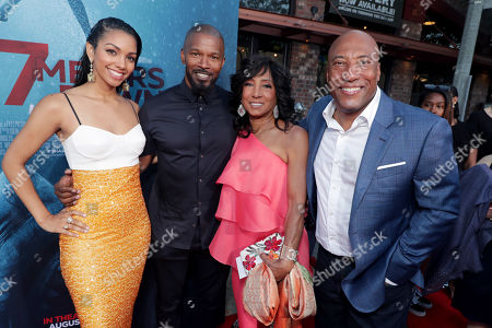 Stock Image of Corinne Bishop, Jamie Foxx, Carolyn Folks, Executive Producer, Byron Allen, Founder, Chairman, and Chief Executive Officer, Entertainment Studios,