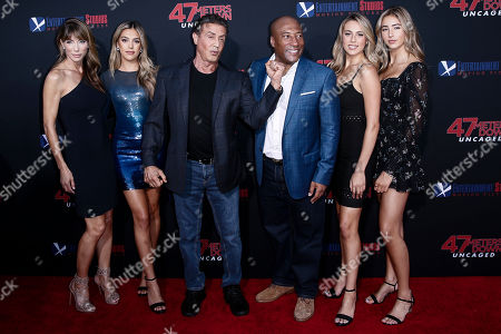US model Jennifer Jennifer Flavin Stallone, actress Sisteen Rose Stallone, actor Sylvester Stallone, Entertainment Studios CEO Byron Allen, Sophia Rose Stallone and Scarlet Rose Stallone pose for photos prior to the premiere of '47 Meters Down: Uncaged' at the Regency Village Theatre in Los Angeles, California, USA, 13 August 2019. '47 Meters Down: Uncaged' will be released in US theater on 16 August.