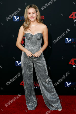 Brec Bassinger poses for photos prior to the premiere of '47 Meters Down: Uncaged' at the Regency Village Theatre in Los Angeles, California, USA, 13 August 2019. '47 Meters Down: Uncaged' will be released in US theater on 16 August.