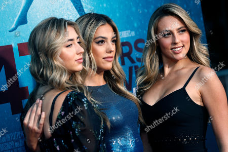 Sistine Rose Stallone (C) poses with her sisters Scarlet Rose Stallone (L) and Sophia Rose Stallone (R) pose for photos prior to the premiere of '47 Meters Down: Uncaged' at the Regency Village Theatre in Los Angeles, California, USA, 13 August 2019. '47 Meters Down: Uncaged' will be released in US theater on 16 August.
