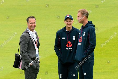 Michael Vaughan on the outfield with Joe Root of England and Stuart Broad of England during the International Test Match 2019 match between England and Australia at Lord's Cricket Ground, St John's Wood