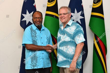 Stock Photo of Vanuatu's Prime Minister Charlot Salwai meets with Australia's Prime Minister Scott Morrison for a bilateral meeting at the Pacific Islands Forum (PIF) in Funafuti, Tuvalu, 14 August 2019. The 50th Pacific Islands Forum and Related Meetings, fostering cooperation between governments comprising 18 countries in the region, run from 13 to 16 August 2019 in Tuvalu.