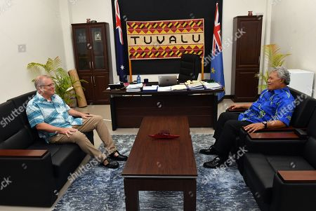 Tuvalu's Prime Minister Enele Sopoaga (R) meets with Australia's Prime Minister Scott Morrison for a bilateral meeting during the Pacific Islands Forum (PIF) in Funafuti, Tuvalu, 14 August 2019. The 50th Pacific Islands Forum and Related Meetings, fostering cooperation between governments comprising 18 countries in the region, run from 13 to 16 August 2019 in Tuvalu.