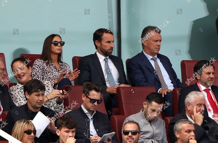 England manager Gareth Southgate sits next to David O'Leary at the Arsenal v Burnley, English Premier League game, at The Emirates Stadium, London, on August 17, 2019. **Editorial use only, license required for commercial use. No use in betting, games or a single club/league/player publications**