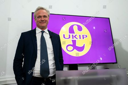 Stock Picture of Newly appointed leader of UK Independence Party (UKIP) Richard Braine talks to the media during a press conference in Central London, Britain, 14 August 2019. Richard Braine has replaced Gerard Batten as party leader on 10 August 2019.
