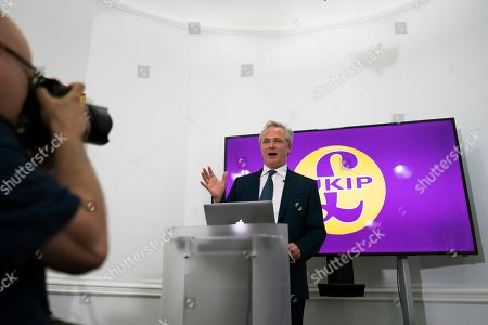 Editorial picture of Newly appointed leader of UKIP Richard Braine hosts press conference, London, United Kingdom - 08 Aug 2019