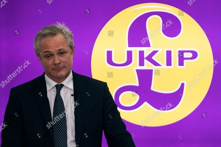 Newly appointed leader of UK Independence Party (UKIP) Richard Braine talks to the media during a press conference in central London, Britain, 14 August 2019. Richard Braine has replaced Gerard Batten as party leader on 10 August 2019.