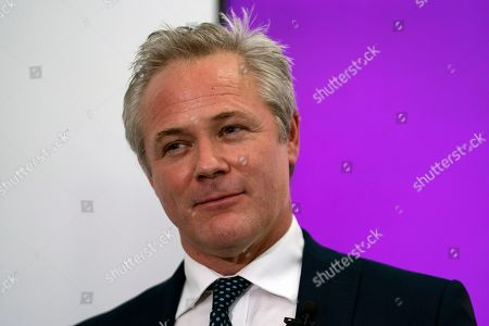 Stock Photo of Newly appointed leader of UK Independence Party (UKIP) Richard Braine talks to the media during a press conference in central London, Britain, 14 August 2019. Richard Braine has replaced Gerard Batten as party leader on 10 August 2019.