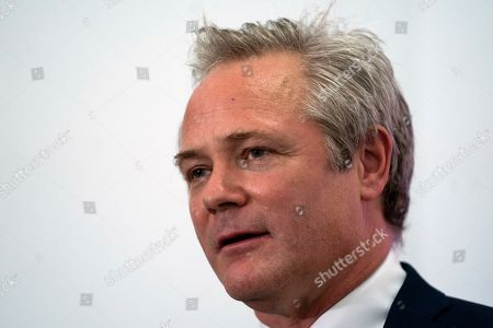 Stock Image of Newly appointed leader of UK Independence Party (UKIP) Richard Braine talks to the media during a press conference in Central London, Britain, 14 August 2019. Richard Braine has replaced Gerard Batten as party leader on 10 August 2019.