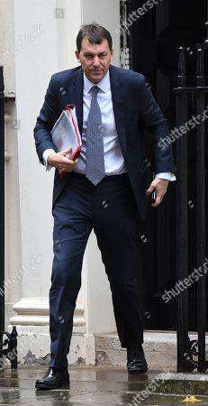John Glen economic Sec to the Treasury leaving No11 Downing St this morning