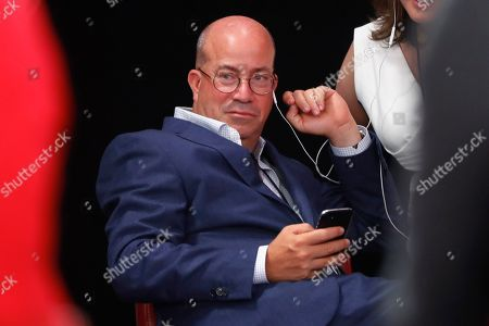 Jeff Zucker, Chairman, WarnerMedia News and Sports and President, CNN Worldwide listens in the spin room after the first of two Democratic presidential primary debates hosted by CNN, in the Fox Theatre in Detroit