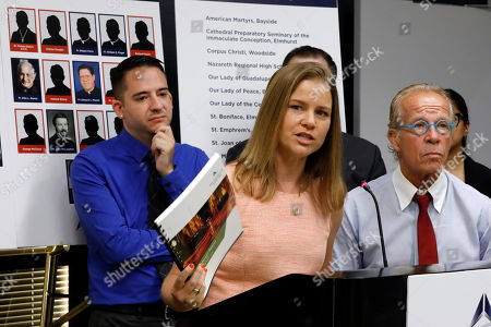 Bridie Farrell, Joseph Caramanno, Jeff Anderson. Sexual abuse victim Bridie Farrell addresses a news conference, in New York, as fellow abuse victim Joseph Caramanno, left, and attorney Jeff Anderson listen. Wednesday marked the start of a one-year litigation window in New York allowing people to file civil lawsuits that had previously been barred by the state's statute of limitations, which was one of the nation's most restrictive before lawmakers relaxed it this year