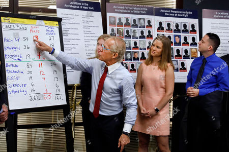 Bridie Farrell, Joseph Caramanno, Jeff Anderson. Attorney Jeff Anderson, left, points to a chart of sexual abuse perpetrators as sexual abuse victims Birdie Farrell, center, and Joseph Caramanno watch during a news conference, in New York, . Wednesday marked the start of a one-year litigation window in New York allowing people to file civil lawsuits that had previously been barred by the state's statute of limitations, which was one of the nation's most restrictive before lawmakers relaxed it this year