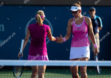 Kveta Peschke of the Czech Republic & Nicole Melichar of the United States playing doubles