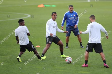 Feyenoord's Renato Tapia (C) attends a training session at the Boris Paichadze Dinamo Arena stadium in Tbilisi, Georgia 14 August 2019. Dinamo Tbilisi will face Feyenoord Rotterdam in the UEFA Europa League third qualifying round , 2nd leg match on 15 August 2019.