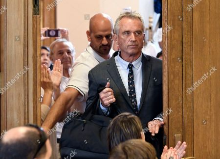 Attorney Robert F. Kennedy, Jr., arrives for a hearing challenging the constitutionality of the state legislature's repeal of the religious exemption to vaccination on behalf of New York state families who held lawful religious exemptions, during a rally outside the Albany County Courthouse, in Albany, N.Y