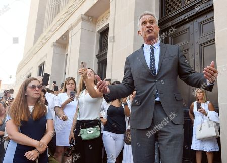 Attorney Robert F. Kennedy, Jr. speaks after a hearing challenging the constitutionality of the state legislature's repeal of the religious exemption to vaccination on behalf of New York state families who held lawful religious exemptions, during a rally outside the Albany County Courthouse, in Albany, N.Y