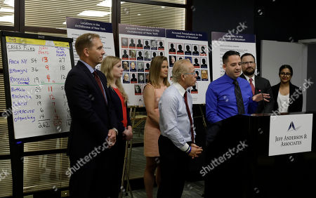 Sexual abuse victim Joseph Caramanno (C) and his lawyer Attorney Jeff Anderson (C-L) and sexual abuse victim Bridie Farrell (C-L) address the media during a new conference  in New York, New York, USA, 14 August 2019. On 14 August 2019 is the start of a one-year litigation window in New York allowing people to file civil lawsuits that had previously been barred by the state's statute of limitations, which was one of the nation's most restrictive before lawmakers relaxed it this year.