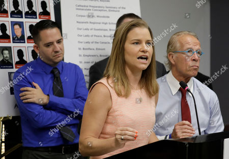 Sexual abuse victim Bridie Farrell  (C) addresses the media during a news conference alongside sexual abuse victim Joseph Caramanno (L) and attorney Jeff Anderson (R) to announce over 200 sex abuse lawsuits against members of the clergy in New York, New York, USA, 14 August 2019. On 14 August 2019 is the start of a one-year litigation window in New York allowing people to file civil lawsuits that had previously been barred by the state's statute of limitations, which was one of the nation's most restrictive before lawmakers relaxed it this year.