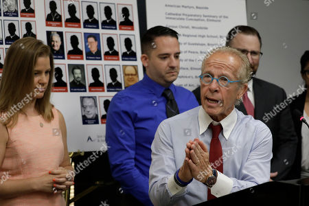 Attorney Jeff Anderson (R) addresses the media during a news conference while standing with sexual abuse victim Bridie Farrell (L) and sexual abuse victim Joseph Caramanno (R) in New York, New York, USA, 14 August 2019. On 14 August 2019 is the start of a one-year litigation window in New York allowing people to file civil lawsuits that had previously been barred by the state's statute of limitations, which was one of the nation's most restrictive before lawmakers relaxed it this year.