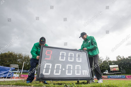 Pat Fitzgibbon and Tim Ahern prepare the track ahead of the races