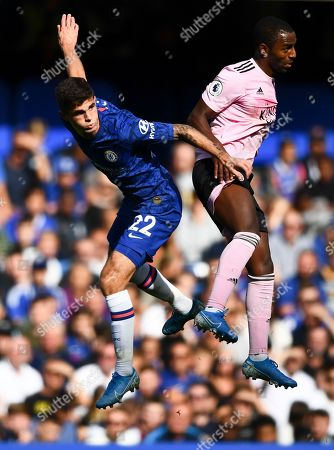 Christian Pulisic of Chelsea and Ricardo Pereira of Leicester City