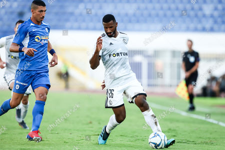 Cafu (R) of Legia in action against Tal Khila of Atromitos during the UEFA Europa League, 3rd qualifying round, match between Atromitos FC and Legia Warsaw, in Athens, Greece, 14 August 2019.