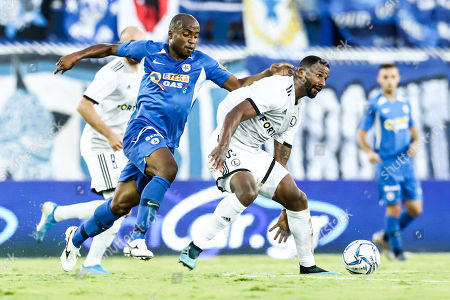 Cafu (R) of Legia in action against Madson of Atromitos during the UEFA Europa League, 3rd qualifying round, match between Atromitos FC and Legia Warsaw, in Athens, Greece, 14 August 2019.