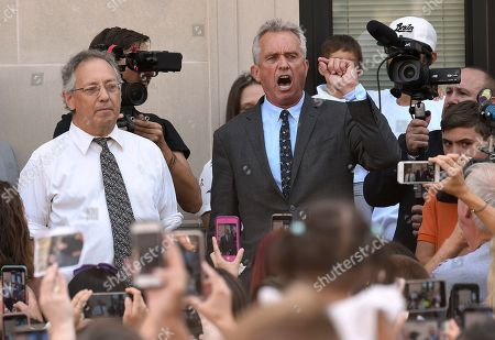 Michael H. Sussman, Robert F. Kennedy, Jr. Attorneys Michael H. Sussman,left, and Robert F. Kennedy, Jr. speak after a hearing challenging the constitutionality of the state legislature's repeal of the religious exemption to vaccination on behalf of New York state families who held lawful religious exemptions, during a rally outside the Albany County Courthouse, in Albany, N.Y