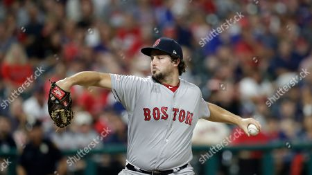 Boston Red Sox relief pitcher Josh Taylor delivers in the eighth inning in a baseball game against the Cleveland Indians, in Cleveland