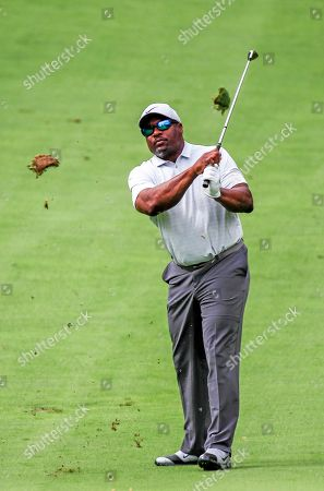 Stock Image of Former Major League Baseball and National Football League star Bo Jackson hits on the fourth fairway during the BMW Championship Gardner Heidrick Pro-Am at Medina Country Club in Medina, Illinois, USA, 14 August 2019. The BMW Championship is the second of three playoff tournaments to determine the FedEx Cup champion.