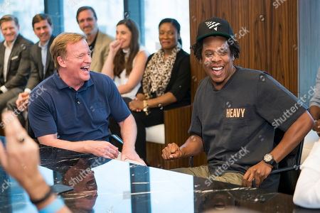 Commissioner of the NFL Roger Goodell and Jay-Z attend a press conference at ROC Nation on in New York