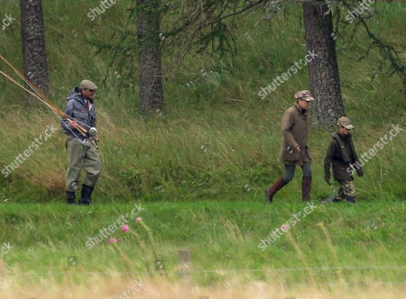 Sophie Countess of Wessex out with her son James Viscount Severn who is learning to fly fish on the River Dee