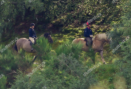 Stock Photo of Prince Edward out riding with Lady Louise Windsor