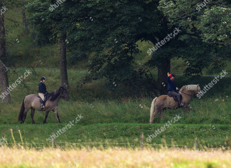 Prince Edward out riding with Lady Louise Windsor