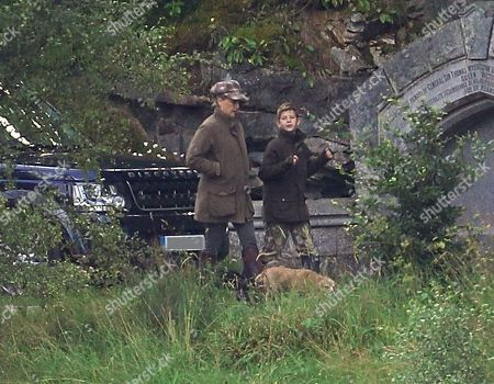 Stock Picture of Sophie Countess of Wessex out with her son James Viscount Severn who is learning to fly fish on the River Dee