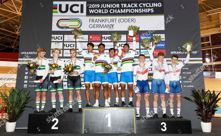 Stock Photo of Jon Trovas, Carlos Carisimo and Sam Gallagher of Australia, Rojit Singh Yanglem, Esow Esow, Jemsh Singh Keithellakpam and Ronaldo Singh Laitonjam of India and James Bunting, Matti Egglestone and Rhys Thomas of Great Britain on the podium after the Men's Team Sprint Finals.