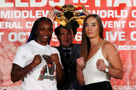 Claressa Shields, Ivana Habazin, Dimitriy Salita. Claressa Shields, left, stands with Ivana Habazin and promotor Dmitriy Salita during a press conference, in Detroit. The women will fight on Oct. 5 for the vacant WBO Junior Middleweight title in Flint, Mich
