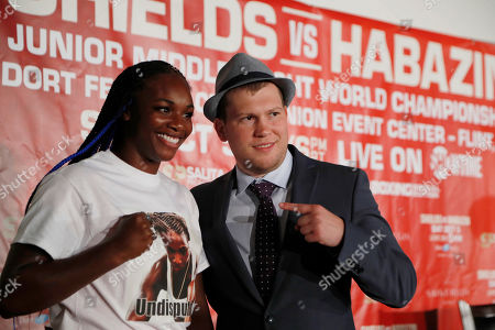 Claressa Shields, Dmitriy Salita. Boxer Claressa Shields stands with promotor Dmitriy Salita after a press conference with her opponent Ivana Habazin, in Detroit. Habazin and Shields will fight on Oct. 5 for the vacant WBO Junior Middleweight title in Flint, Mich