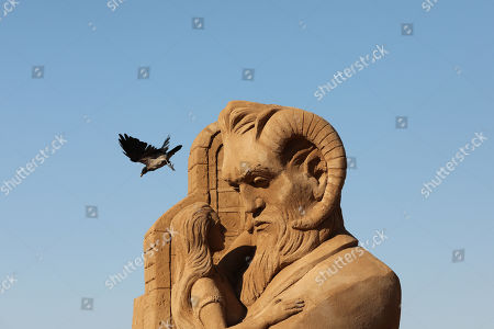 A sand Sculpture made by Spanish artists Montserrat Cuesta and Sergio Ramirez is seen ahead of the International Sand Sculpture Festival in Ashkelon, Israel, 14 August 2019. The festival will run from August 18-23.